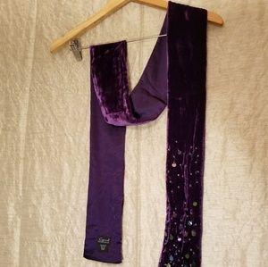 Royal Purple Beaded Silk/Rayon Scarf